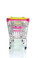 Row empty shopping carts
