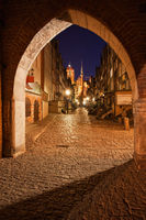 Gothic St Mary Gate and Mariacka Street in Gdansk