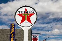 SELIGMAN, ARIZONA, USA - JULY 31 : Old Texaco and other signs in Seligman, Arizona, USA on July 31, 2011