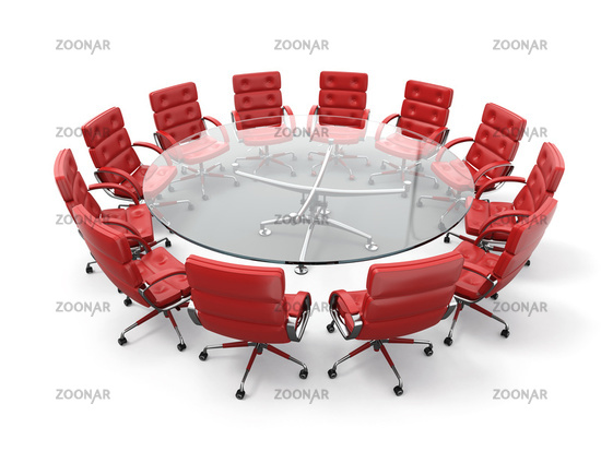 Concept of business meeting or brainstorming. Circle table and red armchairs. 3d