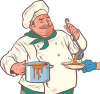 a male chef prepares delicious food