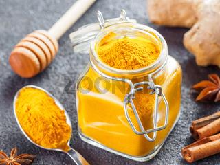 turmeric powder in glass jar and spoon