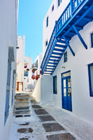 Street in Mykonos island in Greece