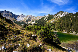 high mountain lake in alps