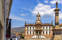 Ouro Preto central square with its historic buildings and monuments