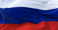 Detail of the national flag of Russia flying in the wind