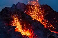 Closeup of Fagradalsfjall volcanic eruption at night, Iceland