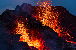 Closeup of Fagradalsfjall volcanic eruption at night, Iceland
