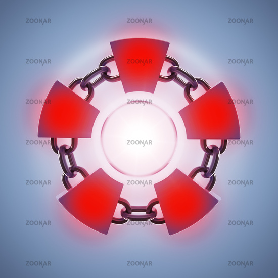 red glowing blockchain ring symbo