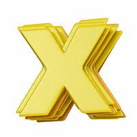 Yellow font Letter X 3D