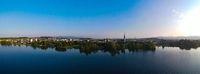Panorama Cham, zug, Switzerland. View of lake with chruch