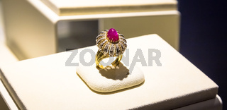 Luxury ring with giant ruby gem