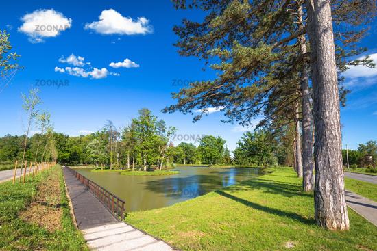 Lake park in town of Jastrebarsko
