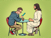 Jesus is waiting for you, savior and busy man at the table. Christianity and religion, preaching and faith