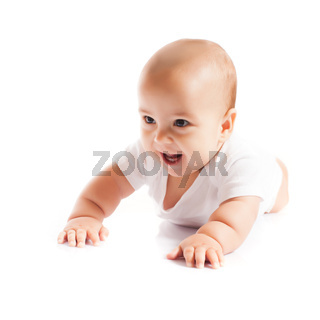 Cute baby smile and shows first teeth, isolated