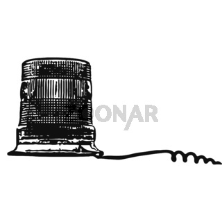 Flasher with the wire isolated silhouette on white background. Police lamp.