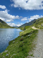 Footpath on the shore of the Lake Giglachsee in the Styrian Tauern - Austria.