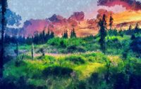 Beautiful landscape, forest meadow full of flowers. Painting effect.
