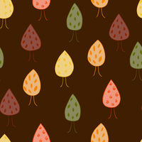Cute seamless pattern with autumn trees on dark brown background. Pattern for textile, wrapping, etc