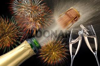 Champagner mit Feuerwerk