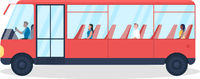 Bus with passengers semi flat color vector object