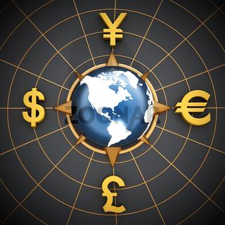 Dollar, Euro, Yen and Pound symbols around the globe