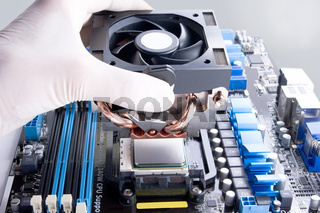 installing black processol cooler fan with copper tubes on computer processor