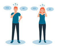 Man and woman have a sense of doubt, it is difficult to make the right choice, yes or no. The concept of cognitive dissonance. Flat vector illustration of characters and question marks.
