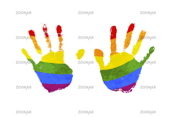 Human palm prints with rainbow LGBT flag isolated on white