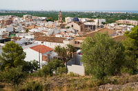 Top view on old city of Oliva with the church tower of 'Santa Maria la Mayor' reaching out, Spain