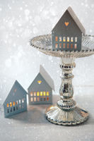 Candle houses with cake stand for the holidays
