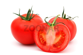 tomato pile slice isolated on white