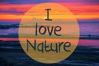 Sunset Or Sunrise At Sweden Ocean, Text I Love Nature