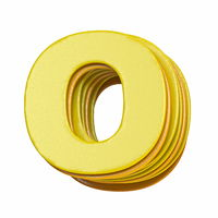 Yellow font Letter O 3D