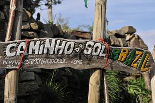 Spanien: Pilgerschild in der Albergue Manjarin