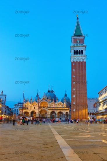 Saint Mark's square in Venice at twilight