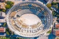 Arena Pula. Ancient ruins of Roman amphitheatre in Pula aerial view
