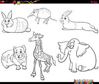 cartoon animals characters set coloring book page