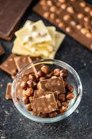 Chocolate bar with hazelnuts.