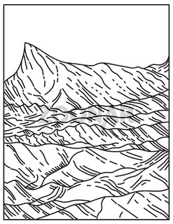 Death Valley National Park That Straddles the California Nevada Border East of the Sierra Nevada United States Mono Line or Monoline Black and White Line Art