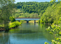 The famous historic covered bridge leading into Phillippi in West Virginia