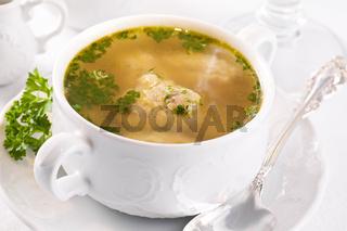 soup with fish dumplings