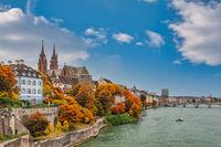 Basel Switzerland, city skyline at Rhine River with autumn foliage season