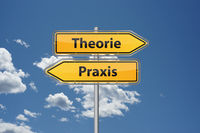 Theory or practice in German language Theorie oder Praxis on direction sign