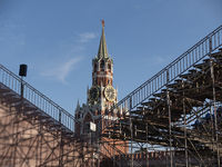 MOSCOW RUSSIA- AUG 25, 2018: Spasskaya tower on the background of scaffolding