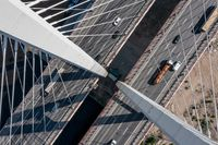Cable-stayed bridge with cars