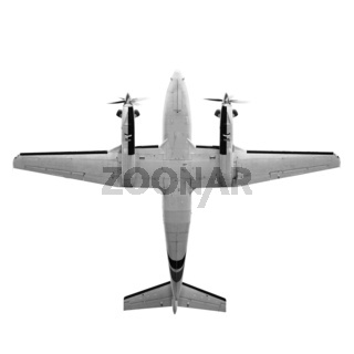 Twin prop cargo plane isolated on white background