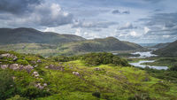Irish iconic viewpoint, Ladies View and Lakes of Killarney. Valley