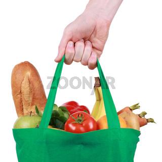 Grüne Einkaufstüte mit Lebensmitteln