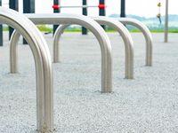Modern playground equipment with safety  details. Children's playground